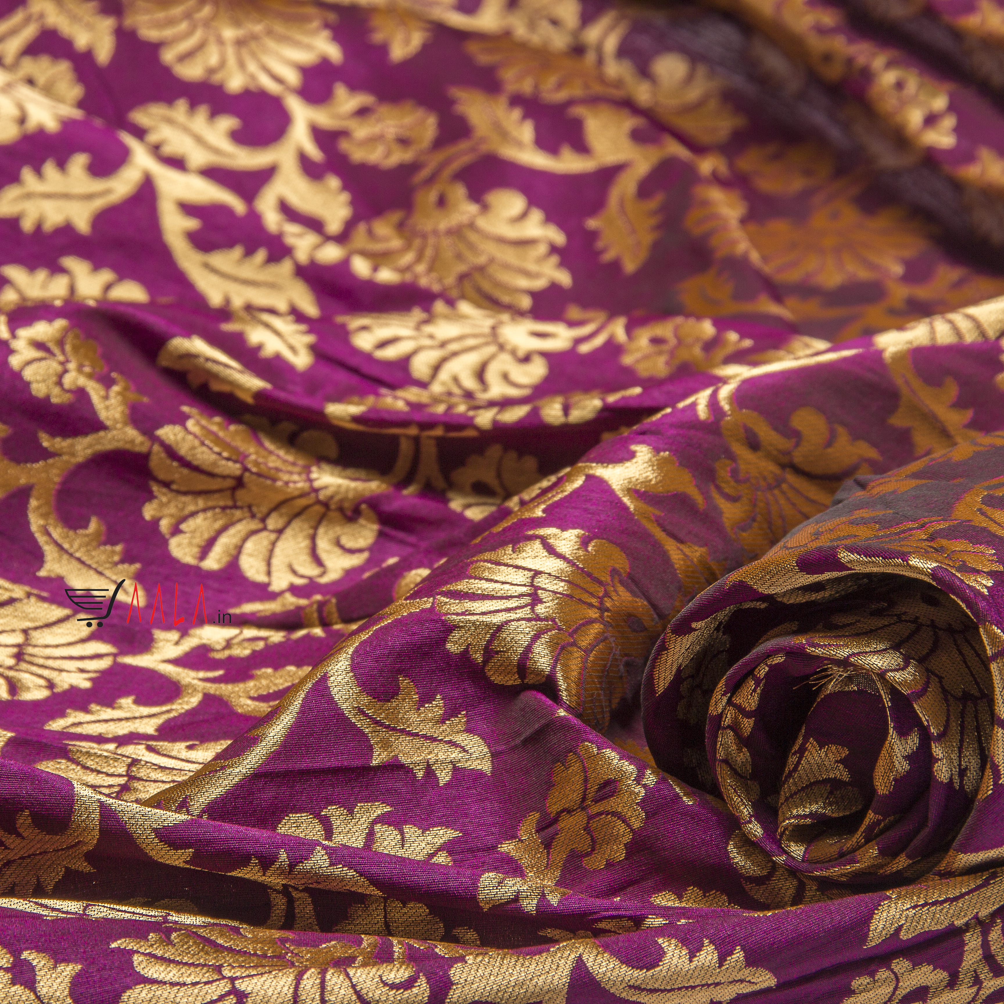 Brocade Silk Poly-ester 44 Inches Dyed Per Metre #1804