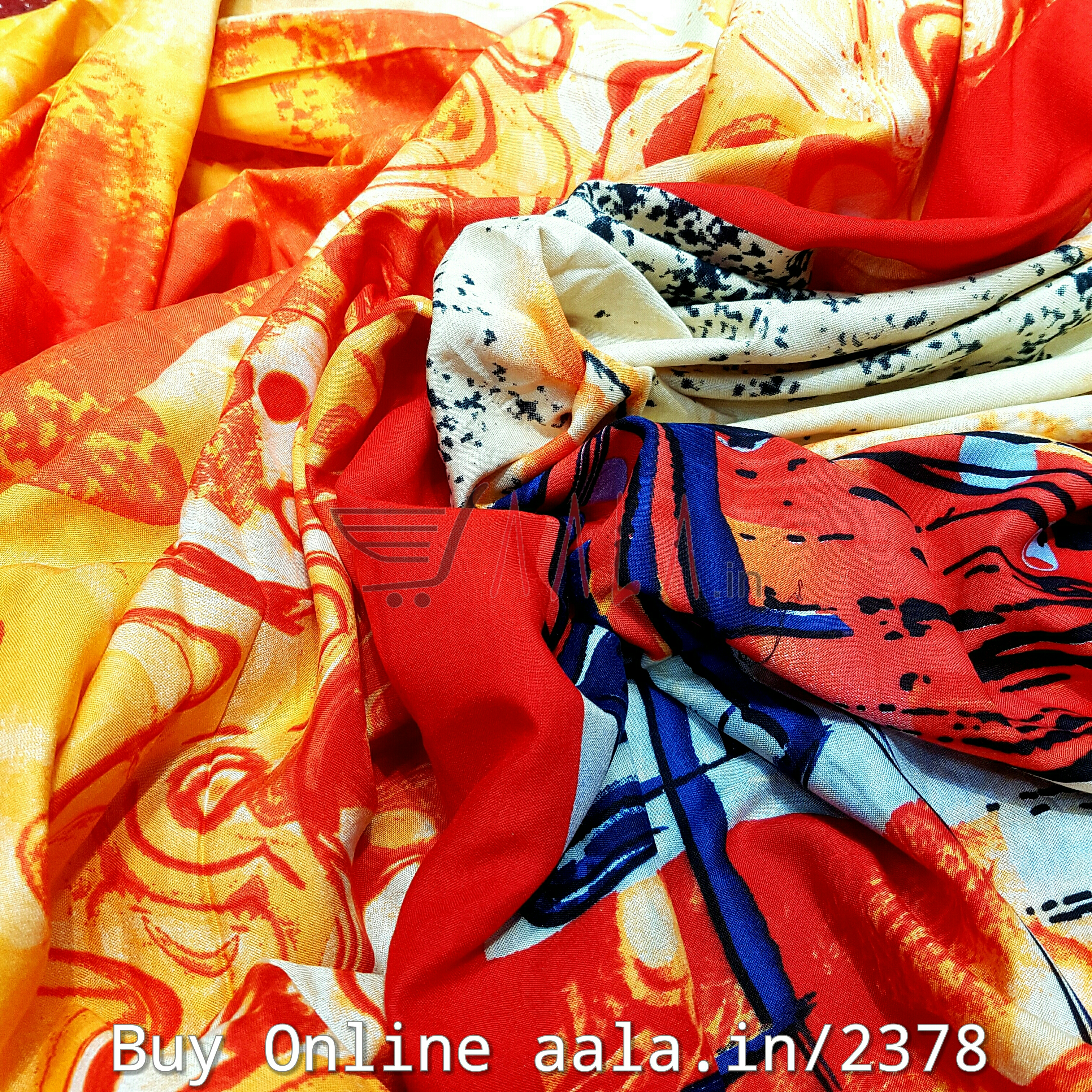Printed Rayon Cotton 44 Inches Per Metre #2378