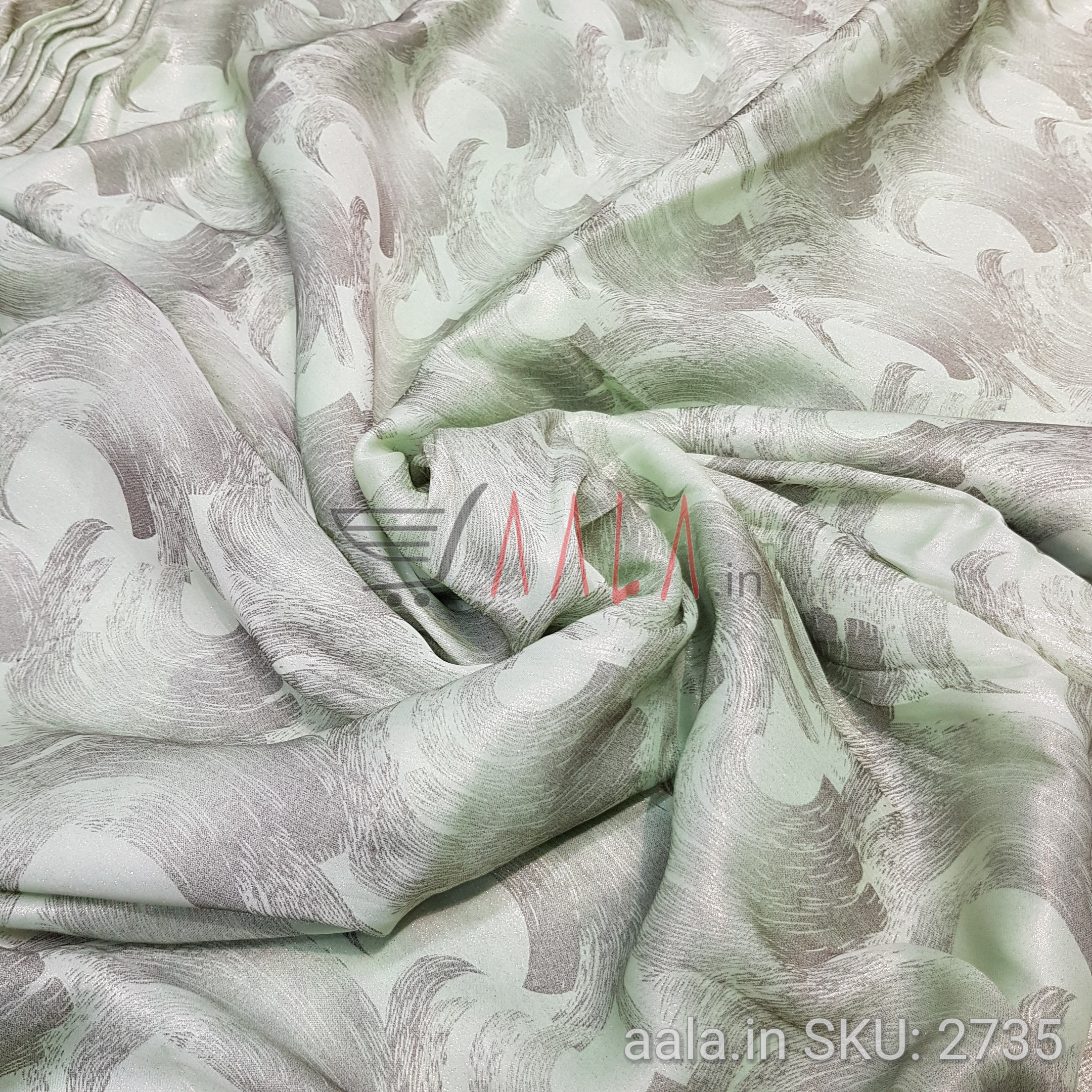 Foil Print Satin Georgette Poly-ester 44 Inches Dyed Per Metre #2735