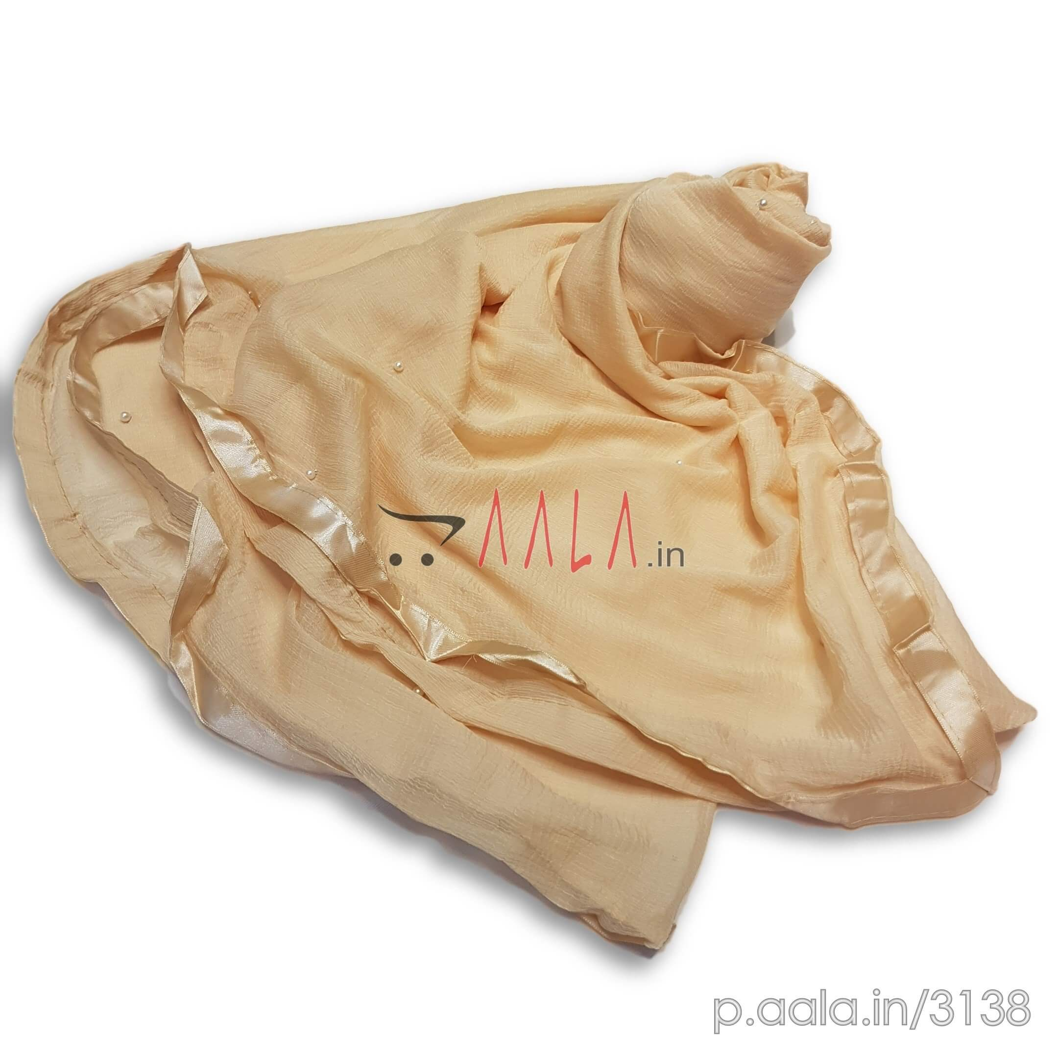 Pearl Satin Lace Chiffon Dupatta 36 Inches Dyed 2.25 Metres #3138