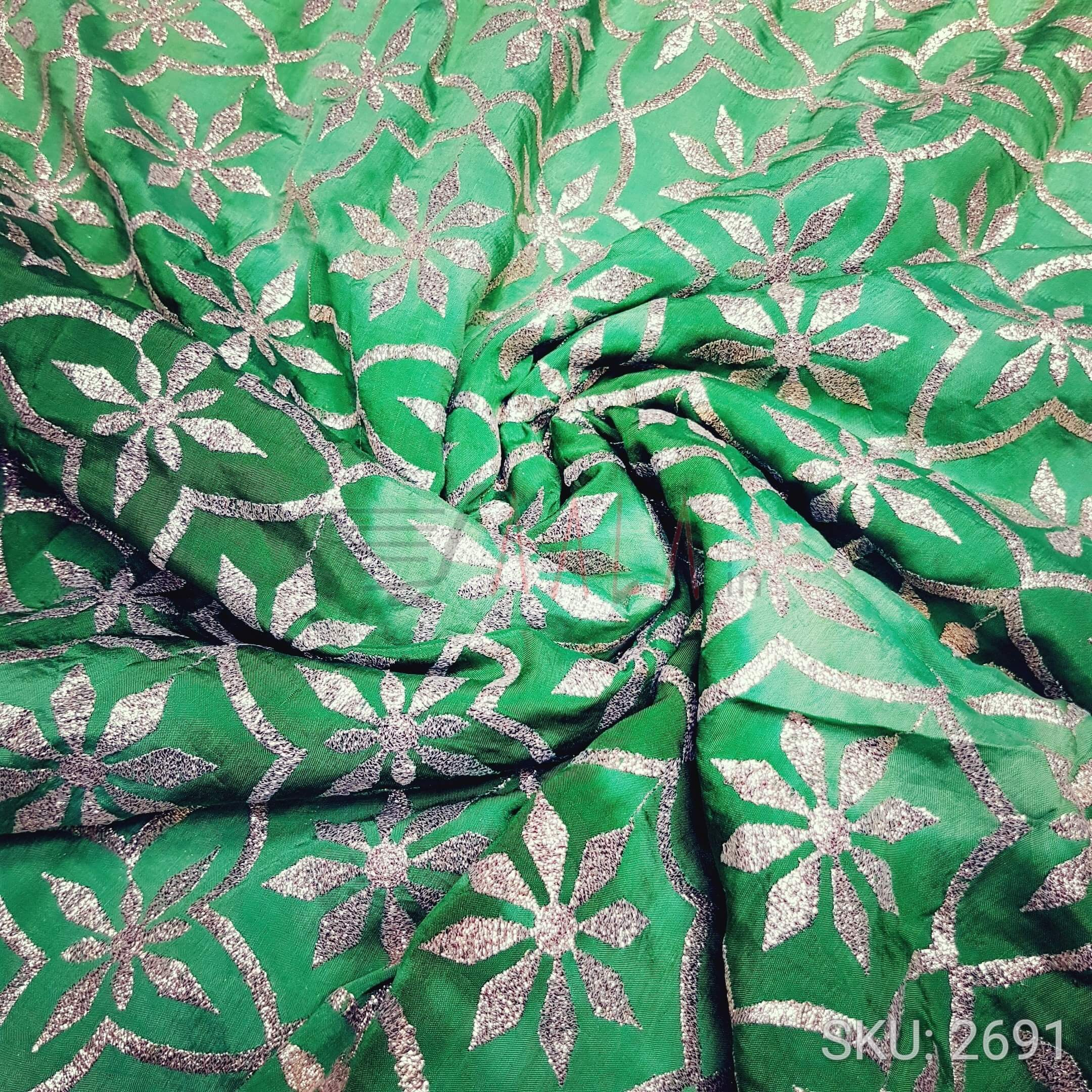 Embroidered Silk Polyester 44 Inches Dyed Per Metre #2691