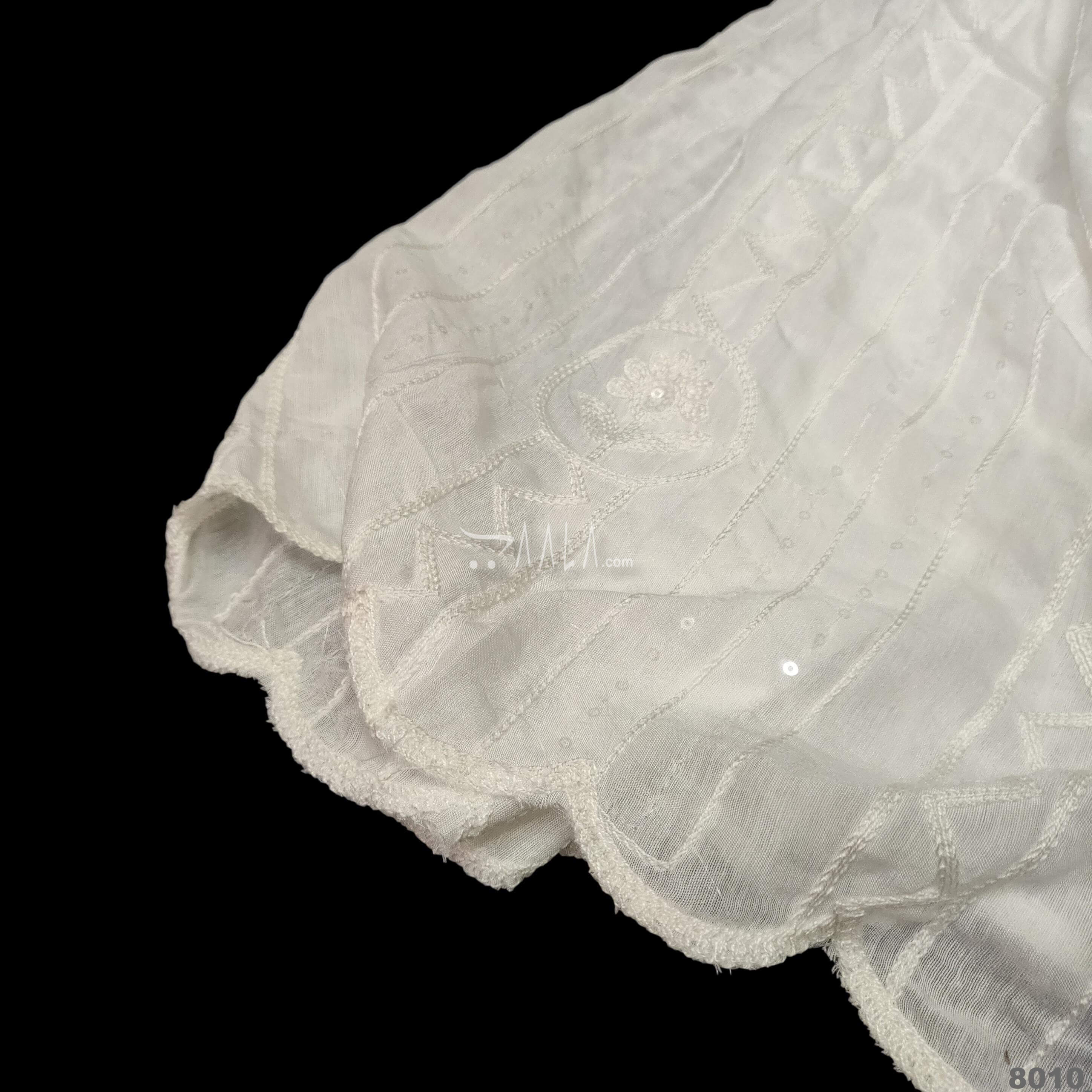 Embroidered-Scollap Muslin Nylon Dupatta-36-Inches DYEABLE 2.25-Metres #8010